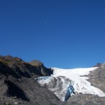 Moon shining over Worthington Glacier